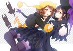 2girls bag black_cat black_dress black_hair blue_eyes blush bow brown_eyes brown_hair cat cat_tail collar dress feeding frilled_dress frills hat hibike!_euphonium holding holding_bag komugiko long_sleeves looking_at_another multiple_girls oumae_kumiko outstretched_arm over-rim_eyewear pantyhose pom_pom_(clothes) purple_bow red-framed_eyewear semi-rimless_eyewear striped striped_legwear tail tail_bow tanaka_asuka yellow_hat yuri
