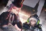 2girls aek-999_(girls_frontline) alternate_costume badge bangs black_jacket black_neckwear blush bow braid buttons cigar city_lights cityscape clothes_writing collared_shirt girls_frontline gloves grey_hair hair_ornament hair_over_shoulder hairclip hat headphones headphones_around_neck heiwari_kanade hexagram holding holding_cigar hood hooded_jacket jacket key leaning_on_object light long_hair looking_at_viewer multiple_girls necktie negev_(girls_frontline) newspaper night open_clothes open_jacket parted_lips pink_hair rain red_bow red_eyes shirt sidelocks signature silver_hair smile star_of_david striped striped_shirt swirling top_hat vest white_gloves white_shirt yellow_eyes
