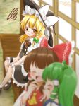3girls ^_^ ascot blonde_hair blouse blurry blush braid brown_eyes brown_hair commentary depth_of_field double-breasted eyes_closed frown green_hair hakurei_reimu hakurei_shrine hat jealous kirisame_marisa kochiya_sanae laughing long_hair mary_janes multiple_girls natsune_ilasuto pout shoes side_braid signature single_braid sitting skirt skirt_set touhou v-shaped_eyebrows vest witch_hat yellow_neckwear