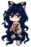 1girl bangle barefoot blue_bow blue_eyes blue_hair blue_skirt bow bowl bracelet chibi commentary_request debt drawstring eyebrows_visible_through_hair frown full_body grey_jacket hair_bow holding holding_bowl hood hooded_jacket jacket jewelry jitome long_hair looking_at_viewer messy_hair shaded_face simple_background skirt solo standing stuffed_animal stuffed_cat stuffed_toy touhou very_long_hair white_background yorigami_shion zetsumame