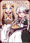 2girls :d abigail_williams_(fate/grand_order) absurdres alternate_costume apron bangs black_bow black_gloves blonde_hair blue_eyes blush bow butter commentary_request doll_joints elbow_gloves enmaided eyebrows_visible_through_hair fate/extra fate/grand_order fate_(series) food forehead gloves hair_between_eyes hair_bow highres holding holding_tray long_hair long_sleeves looking_at_viewer maid maid_apron maid_headdress menu multiple_girls nursery_rhyme_(fate/extra) open_mouth orange_bow own_hands_together pancake parted_bangs pink_hair plate polka_dot polka_dot_bow puffy_short_sleeves puffy_sleeves short_over_long_sleeves short_sleeves silver_hair smile stack_of_pancakes striped striped_bow syrup translation_request tray twitter_username very_long_hair white_apron yuya090602