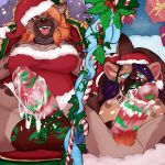 anthro balls big_balls breasts christmas collar cum cum_drip cum_on_penis dickgirl dickgirl/female dominant_pov dripping drooling duo erection female first_person_view hat holidays humanoid_penis hyena intersex intersex/female licking mammal mistletoe multiple_images nipples octopoodle open_mouth oral penis penis_lick plant pubes saliva santa_hat sex smile submissive submissive_pov tongue tongue_out