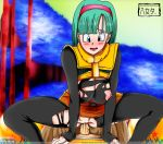1boy 1girl blue_hair blush breasts bulma clothed_sex dragon_ball dragonball_z female iiyametaii nipples pantyhose penis pussy sex torn_clothes torn_pantyhose watermark whentai