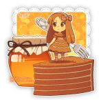 1girl artist_name blush bow brown_bow brown_dress brown_eyes brown_footwear brown_hair brown_hairband brown_legwear cake chibi closed_mouth commentary dav-19 dress food fork fur-trimmed_dress hair_bow hairband holding holding_fork honey honeycomb_(pattern) jar lace_background long_hair looking_away looking_to_the_side original pantyhose personification short_sleeves slice_of_cake smile solo standing striped striped_bow striped_hairband striped_legwear transparent_background very_long_hair watermark web_address