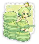 1girl artist_name bare_arms bare_shoulders bow chibi closed_mouth commentary dav-19 dress food food_themed_hair_ornament frilled_dress frills green_bow green_dress green_eyes green_hair green_hairband hair_ornament lace_background looking_away macaron original personification puffy_dress short_hair smile solo standing standing_on_one_leg strapless strapless_dress striped striped_bow transparent_background watermark web_address white_footwear