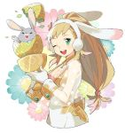 1girl alternate_costume animal_ears blonde_hair breasts bunny bunny_ears cleavage cleavage_cutout cup easter_egg fake_animal_ears fire_emblem fire_emblem_heroes flower gloves green_eyes holding long_hair looking_at_viewer medium_breasts one_eye_closed open_mouth pekaso1118n see-through sharena smile solo upper_body white_gloves