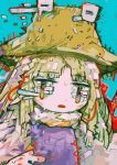 1girl abstract bangs blonde_hair colorful eyes_visible_through_hair hat hito_(nito563) long_hair looking_at_viewer moriya_suwako multicolored multicolored_eyes open_mouth parted_bangs purple_vest shirt solo touhou turtleneck vest white_shirt