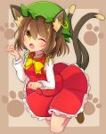 1girl ;d ;o animal_ears bangs blush bow bowtie bright_pupils brown_background brown_eyes brown_footwear cat_ears cat_tail chen earrings extra_ears eyebrows_visible_through_hair fang frilled_skirt frills full_body green_hat hair_between_eyes hat highres inon jewelry long_sleeves mob_cap multicolored multicolored_eyes multiple_tails nekomata one_eye_closed open_mouth paw_background paw_pose red_skirt red_vest short_hair skirt smile solo tail tareme touhou two_tails vest yellow_bow yellow_eyes yellow_neckwear