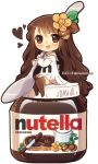1girl :d absurdly_long_hair artist_name bangs blush bow brown_eyes brown_hair brown_legwear chibi dav-19 dress eyebrows_visible_through_hair food_themed_hair_ornament hair_between_eyes hair_ornament heart holding holding_spoon long_hair long_sleeves looking_at_viewer no_shoes nutella open_mouth original personification sailor_collar sailor_dress sitting smile solo spoon thighhighs transparent_background very_long_hair watermark web_address white_bow white_dress white_sailor_collar