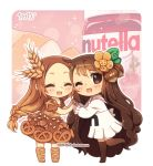 2girls :d ^_^ artist_name bangs blush boots bread brown_dress brown_eyes brown_footwear brown_hair brown_legwear chibi dav-19 dress eyebrows_visible_through_hair eyes_closed food food_themed_clothes food_themed_hair_ornament hair_ornament hands_together lace_background long_hair long_sleeves looking_at_viewer looking_to_the_side multiple_girls nutella open_mouth original parted_bangs personification pleated_skirt puffy_long_sleeves puffy_short_sleeves puffy_sleeves sailor_collar school_uniform serafuku shirt short_sleeves skirt smile standing standing_on_one_leg thighhighs transparent_background very_long_hair watermark web_address white_sailor_collar white_serafuku white_shirt white_skirt