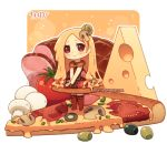 1girl artist_name blonde_hair blush brown_dress brown_eyes brown_legwear cheese chibi closed_mouth dav-19 dress food food_themed_clothes ham head_tilt in_food lace_background long_hair looking_at_viewer mushroom no_shoes olive original own_hands_together personification pizza sleeveless sleeveless_dress slice_of_pizza smile solo standing swiss_cheese thighhighs tomato transparent_background v_arms very_long_hair watermark web_address