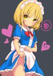 1girl absurdres apron bangs blonde_hair blue_dress blush bow bowtie breasts bright_pupils brown_eyes closed_mouth cowboy_shot dress dress_lift eyebrows_visible_through_hair grey_background groin heart highres inon lifted_by_self looking_at_viewer maid_headdress mugetsu multicolored multicolored_eyes no_panties red_bow red_neckwear short_sleeves simple_background small_breasts smiley_face solo speech_bubble spoken_squiggle squiggle standing sweatdrop touhou upskirt v-shaped_eyebrows waist_apron white_apron yellow_eyes