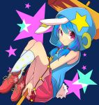 1girl animal_ears ankle_boots bangs bare_arms bare_shoulders between_legs blue_hair boots bunny_ears bunny_tail crescent crescent_moon_pin ear_clip eyebrows_visible_through_hair from_side full_body hair_tie hammer hand_between_legs highres holding_hammer hood hood_up hoodie inon knees_up long_hair looking_at_viewer looking_to_the_side low_twintails miniskirt own_hands_together pink_skirt print_legwear purple_eyes red_footwear seiran_(touhou) skirt sleeveless sleeveless_hoodie solo star star_print starry_background tail tareme touhou twintails white_legwear
