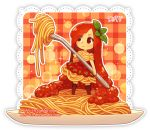 1girl artist_name bangs brown_legwear chibi closed_mouth commentary dav-19 dress eyebrows_visible_through_hair eyes_visible_through_hair food food_themed_clothes fork holding holding_fork in_food lace_background leaf long_hair looking_away looking_to_the_side original pasta personification plaid plate red_dress red_eyes red_hair short_sleeves smile solo spaghetti standing thighhighs tomato tomato_sauce transparent_background very_long_hair watermark web_address