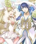 1girl alfonse_(fire_emblem) animal animal_ears aym_(ash3ash3ash) blonde_hair blue_hair braid breasts brother_and_sister bunny bunny_ears bunny_girl bunny_tail bunnysuit cleavage detached_collar fake_animal_ears fire_emblem fire_emblem_heroes gloves green_eyes long_hair looking_at_viewer medium_breasts multicolored_hair open_mouth sharena short_hair siblings simple_background smile tail white_background