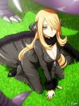 1girl black_pants blonde_hair breasts cleavage full_body fur_trim garchomp grass hair_over_one_eye half-closed_eyes kneeling large_breasts long_hair long_sleeves looking_at_viewer lowres on_grass outdoors pants pokemon pokemon_(game) pokemon_dppt shirona_(pokemon) smile solo