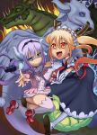2girls ass bangs black_hairband blonde_hair blue_eyes blunt_bangs capelet dragon_girl dragon_horns dragon_tail dress fang female gloves hair_beads hair_ornament hairband highres hikkimora horns kanna_kamui kobayashi-san_chi_no_maidragon large_filesize long_hair looking_at_viewer maid maid_headdress monster_girl multiple_girls open_mouth pixiv red_eyes red_shoes shoes silver_hair slit_pupils tail thighhighs tied_hair tooru_(maidragon) twintails white_gloves white_legwear white_thighhighs