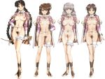 4girls barefoot_sandals barubaresu_no_musume belly_chain blue_eyes bottomless bow_(weapon) breastless_clothes breasts brown_eyes brown_hair cape censored character_request full_body groin hand_on_hip headband jewelry large_breasts legs looking_at_viewer medium_breasts multiple_girls ponytail pubic_hair pussy short_hair smile toeless_legwear uncensored urushihara_satoshi weapon white_hair