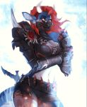 2018 animated anthro armor blue_skin bovine breasts cleavage clothed clothing digital_media_(artwork) ear_piercing female fin fish gauntlets gloves grin hair horn hybrid kardie kasumi_(nayami) knife kunoichi laces looking_at_viewer mammal marine mask navel ninja nipple_piercing nipples piercing red_eyes red_hair shark sharp_teeth shorts simple_background smile solo standing stripes teeth thick_thighs weapon