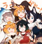 5girls animal_ears black_hair blonde_hair blue_eyes blush bow bowtie elbow_gloves eyebrows_visible_through_hair eyes_closed fang fingerless_gloves fur_collar fur_trim gloves gradient_hair grey_hair grey_wolf_(kemono_friends) halloween_costume hat heterochromia jaguar_(kemono_friends) jaguar_ears jaguar_print kaban_(kemono_friends) kemono_friends long_hair multicolored_hair multiple_girls mummy_costume necktie open_eyes open_mouth otter_ears outstretched_arms pantyhose pleated_skirt serval_(kemono_friends) serval_ears serval_print seto_(harunadragon) shirt short_hair skirt small-clawed_otter_(kemono_friends) smile stitches t-shirt torn_clothes torn_pantyhose white_hair witch_hat wolf_ears yellow_eyes zombie_pose