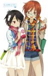 2girls a_channel absurdres black_hair dress glasses highres huge_filesize ichii_tooru kuroda_bb multiple_girls scarf tennouji_nagisa