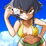 1girl bangs bikini bikini_shorts black_hair blurry blurry_background blurry_foreground braid breasts brown_eyes camera cloud cloudy_sky commentary_request cowboy_shot day depth_of_field eisu_(eith) girls_und_panzer green_bikini_bottom grin hand_on_hip holding looking_at_viewer medium_breasts mismatched_bikini navel outdoors pepperoni_(girls_und_panzer) short_hair shorts side_braid sky smile solo standing swimsuit twitter_username v-shaped_eyebrows yellow_bikini_top