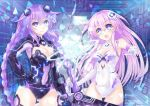 2girls blue_eyes bodysuit breasts cleavage hair_between_eyes highres kazuneko_(wktk1024) long_hair multiple_girls nepgear neptune_(choujigen_game_neptune) neptune_(series) pink_hair power_symbol purple_hair purple_heart purple_sister revealing_clothes smile very_long_hair weapon