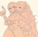 2girls ahoge blush cape circlet dress fire_emblem fire_emblem:_kakusei fire_emblem:_monshou_no_nazo fire_emblem_heroes gloves hairband headband long_hair mamkute maria_(fire_emblem) monochrome multiple_girls navel nono_(fire_emblem) open_mouth pointy_ears short_hair smile tnmrdgr