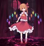 1girl :o absurdres fang flandre_scarlet gavrof highres looking_at_viewer mary_janes moon open_eyes open_mouth pointy_ears red shoes surprised the_embodiment_of_scarlet_devil touhou wide-eyed wings