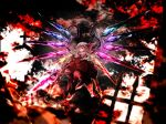 flandre_scarlet floating flying highres holding holding_weapon kushidama_minaka looking_down open_eyes red_eyes smile the_embodiment_of_scarlet_devil touhou weapon wings