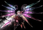 absurdres black_background flandre_scarlet floating flying highres holding holding_weapon kushidama_minaka looking_down open_eyes red_eyes smile the_embodiment_of_scarlet_devil touhou weapon wings