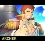 1boy archer_(lostbelt) beard blue_eyes board_game brown_hair epaulettes facial_hair fate/grand_order fate_(series) male_focus military military_uniform muscle scar sky solo teeth uniform waku_(ayamix)