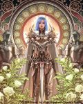 1girl armor blue_hair cape copyright_name derigal dragon's_shadow eudia_(serenity2200) fantasy flower gauntlets greaves jewelry long_hair looking_afar looking_at_viewer official_art pendant planted_sword planted_weapon sheath sheathed standing sword watermark weapon white_cape