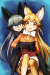 2girls animal_ears artist_name bent_elbows bent_knees black_bow black_gloves black_legwear blazer blonde_hair blush bow bowtie brown_hair commentary_request controller extra_ears eyebrows_visible_through_hair ezo_red_fox_(kemono_friends) fox_ears fox_tail fur_trim game_controller gloves gradient gradient_background green_hair grey_hair hair_between_eyes highres holding holding_object hug hug_from_behind jacket kemono_friends long_hair long_sleeves looking_at_viewer multiple_girls open_mouth orange_blazer orange_eyes pantyhose pleated pleated_skirt signature silver_fox_(kemono_friends) sitting skirt tail turn_pale very_long_hair welt_(kinsei_koutenkyoku) white_bow white_skirt wide-eyed yellow_eyes yellow_legwear yellow_neckwear