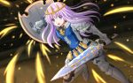 1girl alternate_costume armor blush final_fantasy final_fantasy_xiv hair_ornament highres kazenokaze knight long_hair looking_at_viewer nepgear neptune_(series) open_eyes open_mouth purple_eyes purple_hair shield solo sword weapon