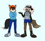 2016 5_fingers absurd_res anthro biped black_ears black_footwear black_fur black_hat black_headwear black_nose black_shoes black_tail blue_background blue_bottomwear blue_clothing blue_eyes blue_hoodie blue_shorts blue_topwear bottomwear brown_eyes brown_fur brown_tail canine clothed clothing colored_sketch crossed_arms dipstick_tail dirtyscoundrel duo english_text fingers flint_(dourdoofus) footwear fox front_view fully_clothed fur green_clothing green_shirt green_topwear hair hat headwear hi_res hoodie jeans looking_at_viewer mammal michelle_(dourdoofus) multicolored_clothing multicolored_footwear multicolored_fur multicolored_shoes multicolored_tail multicolored_topwear orange_hair pants shirt shoes shorts simple_background sketch standing text topwear two_tone_clothing two_tone_footwear two_tone_fur two_tone_shoes two_tone_tail two_tone_topwear white_hair
