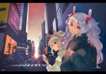 2girls adidas animal_ears ayanami_(azur_lane) azur_lane backpack bag bangs black_shirt brand_name_imitation building bunny_ears car cellphone character_name city crosswalk eyebrows_visible_through_hair ground_vehicle hair_between_eyes hair_ornament headgear headphones holding holding_cellphone holding_phone jacket jewelry karinto_yamada laffey_(azur_lane) long_hair motor_vehicle multiple_girls open_mouth outdoors parted_lips partially_translated pendant phone ponytail red_eyes road shirt silver_hair sky skyscraper street translation_request twintails very_long_hair white_jacket