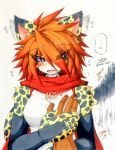 ambiguous_gender blue_eyes blush breasts cat cheetah embarrassed feline female grope hair human jinya mammal red_hair あかばね_じん