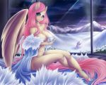 anthro big_breasts breasts bunnywhiskerz cleavage clothed clothing crossed_legs cup equine eyelashes feathers female fluttershy_(mlp) freckles friendship_is_magic hooves inside looking_at_viewer mammal mostly_nude my_little_pony night pegasus smile snow solo star window wings yellow_feathers