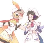 2girls alternate_costume apron belt bike_shorts black_hair blush brown_hair cape collared_dress embarrassed enmaided epaulettes flying_sweatdrops frilled_skirt frills hat hat_feather juliet_sleeves kohinata_miku long_sleeves maid maid_cap maid_dress mask multiple_girls orange_cape orange_eyes orange_frills puffy_sleeves red_cape senki_zesshou_symphogear senki_zesshou_symphogear_xd_unlimited short_sleeves skirt smile tachibana_hibiki_(symphogear) wall_slam white_frills white_hat yancon yuri
