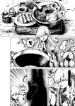 anastasia_(fate/grand_order) bowl comic doll fate/grand_order fate_(series) food fork hair_over_one_eye heart highres hyakusei monochrome mundane_utility noodles ramen sauce spirit spoken_heart thumbs_up