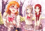 3girls alternate_hairstyle bag bespectacled blue_eyes bow branch brown_hair cherry_blossoms commentary_request double-breasted glasses grin hair_bow hair_ornament hair_scrunchie hairclip holding_branch love_live! love_live!_sunshine!! low_twintails multiple_girls one_eye_closed orange_hair pleated_skirt pointing pointing_at_self red_bow red_eyes red_hair sakurauchi_riko school_bag school_uniform scrunchie serafuku short_twintails skirt smile spring_(season) takami_chika thumbs_up tree twintails uranohoshi_school_uniform watanabe_you yellow_bow yellow_eyes zi_long