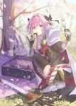 1boy astolfo_(fate) backpack bag bangs black_bow black_legwear black_ribbon black_shirt blanket boots bow braid branch buckle cape cherry_blossoms commentary_request dango day eating eyebrows_visible_through_hair falling_petals fang fate/apocrypha fate_(series) faulds floral_print food from_behind full_body fur-trimmed_cape fur_trim garter_straps gauntlets grass hair_between_eyes hair_bow hair_intakes hair_ribbon hanami highres holding holding_food knee_boots long_hair long_sleeves looking_at_viewer looking_back lunchbox male_focus motion_blur multicolored_hair outdoors petals picnic pink_hair pinky_out purple_eyes red_cape ribbon sanshoku_dango scabbard shadow sheath sheathed shiny shiny_hair shirt sidelocks single_braid solo spring_(season) squatting streaked_hair sunlight sushi sword tamu_(tamurarucaffe1226) thighhighs trap tree tree_shade twisted_torso wagashi weapon white_cape white_footwear white_hair