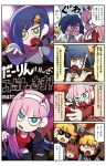 2boys 3girls 4koma ahoge angry asymmetrical_hair blonde_hair blue_eyes blue_hair breasts brown_hair cleavage comic commentary_request darling_in_the_franxx dollar_sign earrings eyeshadow glasses gorou_(darling_in_the_franxx) green_eyes hair_ornament hairpin highres horns horns_through_headwear ichigo_(darling_in_the_franxx) injury jacket jewelry long_hair makeup mato_(mozu_hayanie) microphone miku_(darling_in_the_franxx) military military_uniform multiple_boys multiple_girls navel o_o pink_hair pinky_out shaded_face sharp_teeth short_hair tagme tank_top teeth thumbs_up translation_request triangle_mouth uniform zero_two_(darling_in_the_franxx) zorome_(darling_in_the_franxx)