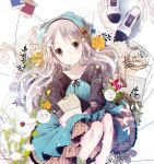 1girl bangs blurry commentary_request depth_of_field dress feet_out_of_frame flower grey_eyes grey_hair hair_flower hair_ornament hat highres layered_dress letter long_hair long_sleeves looking_at_viewer original paper plaid postage_stamp rose shoes_removed smile solo stamp swept_bangs tareme thread white_flower white_rose yellow_flower yellow_rose yuzuyomogi