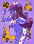 1girl bandaid bat blood blood_stain bloody_clothes commentary_request fang_out green_eyes halloween halloween_costume hat highres iesupa jack-o'-lantern nurse nurse_cap pumpkin pyrrha_nikos red_hair rwby solo zombie