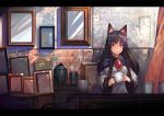 1girl animal_ears bangs brick_wall brooch brown_hair commentary_request crack cup curtains dress expressionless frame holding holding_cup imaizumi_kagerou indoors jewelry long_hair long_sleeves looking_at_viewer onion_(onion_and_pi-natto) red_eyes shiny shiny_hair sidelocks solo touhou upper_body white_dress wide_sleeves wolf_ears