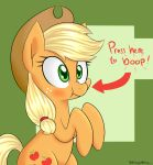 2015 applejack_(mlp) cute cutie_mark earth_pony equine female feral friendship_is_magic hat hi_res horse mammal my_little_pony notenoughapples pony solo text