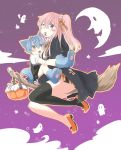 1boy 1girl age_difference animal_ears black_legwear blue_eyes blue_hair blush broom broom_riding flying halloween looking_at_viewer original os_(os_fresa) shota tail wolf_ears wolf_paws wolf_tail