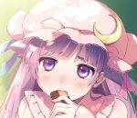 1girl bangs blue_ribbon blunt_bangs blush bun_cover collared_dress commentary_request cookie crescent crescent_moon_pin dress ear eating fingernails food gradient gradient_background green_background hat hat_ribbon holding holding_food jpeg_artifacts long_hair long_sleeves looking_at_viewer mob_cap nose_blush patchouli_knowledge pink_dress pink_hat purple_eyes purple_hair red_ribbon ribbon solo thick_eyebrows touhou upper_body vanilla_(miotanntann) yellow_background
